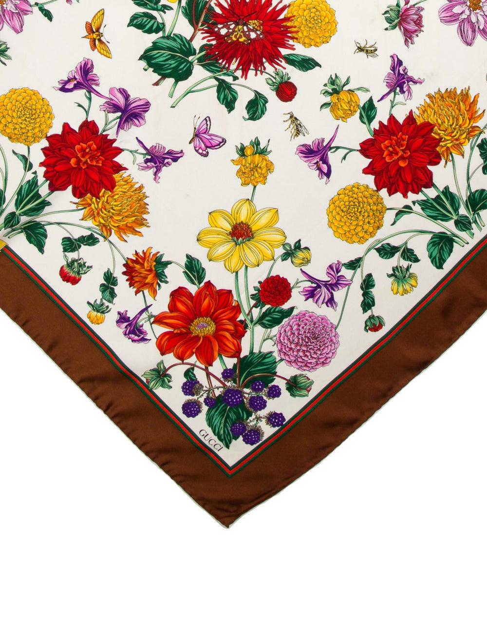 Gucci Silk Floral Print Scarf Brown - image 2