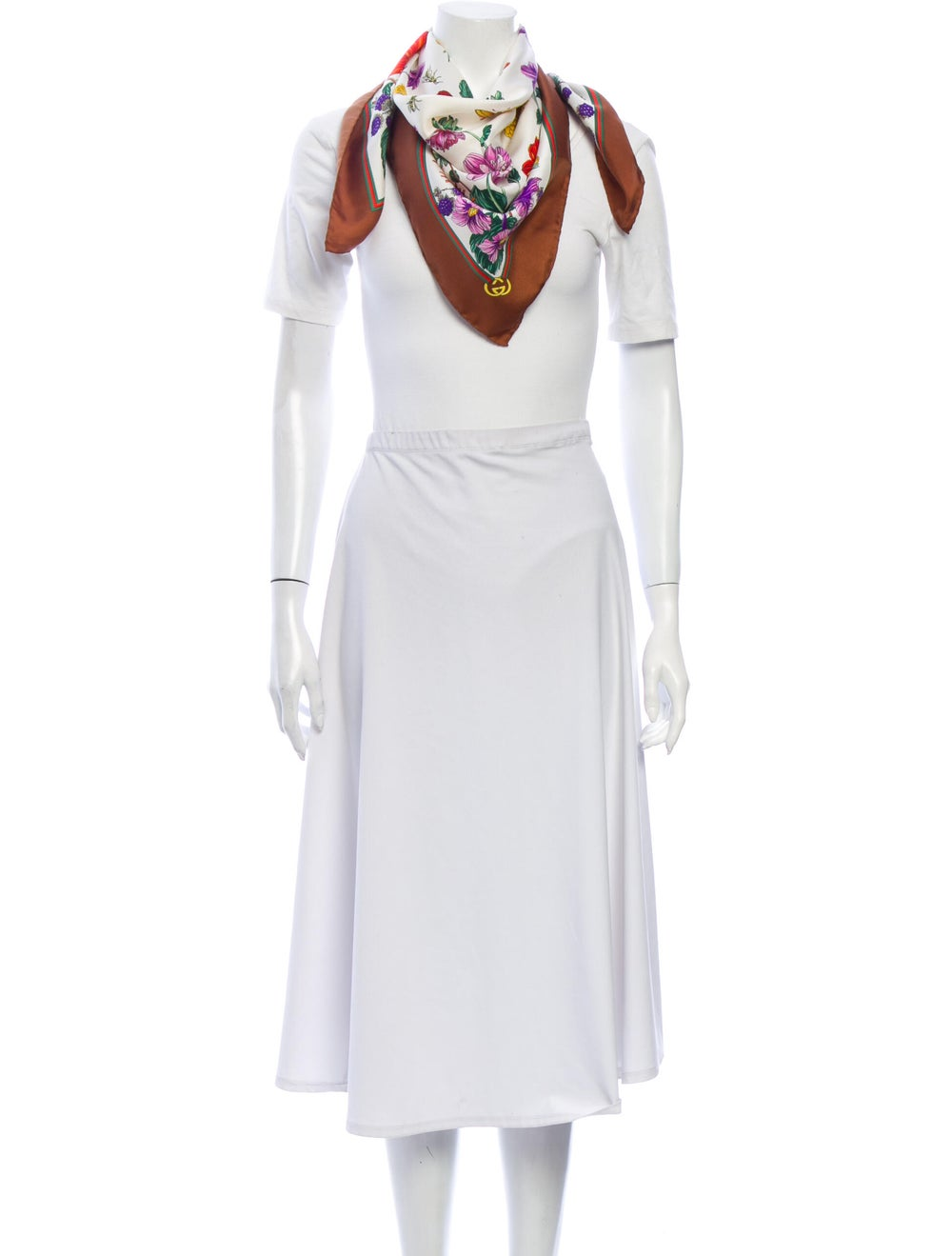Gucci Silk Floral Print Scarf Brown - image 3