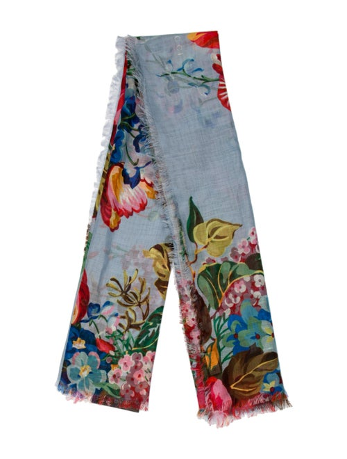 Gucci Floral Print Scarf w/ Tags Blue - image 1