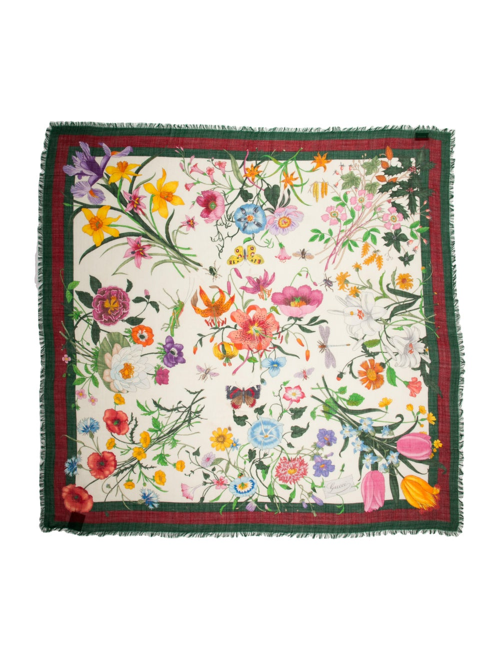 Gucci Floral Print Scarf Green - image 1
