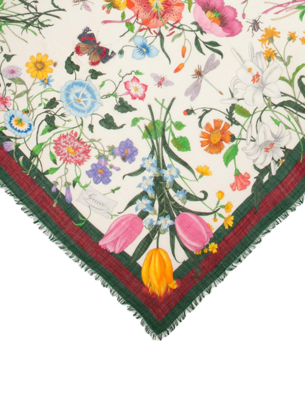 Gucci Floral Print Scarf Green - image 2