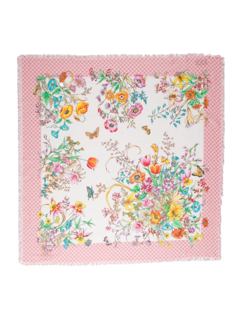 Gucci Floral Print Scarf w/ Tags Pink - image 1