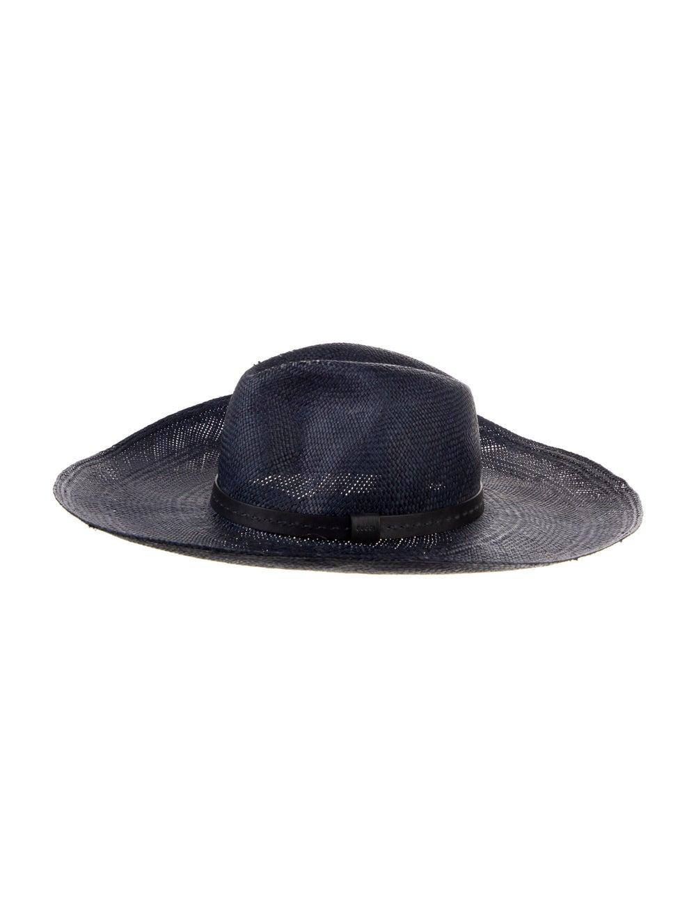 Gucci Straw WIde Brim Hat Navy - image 1