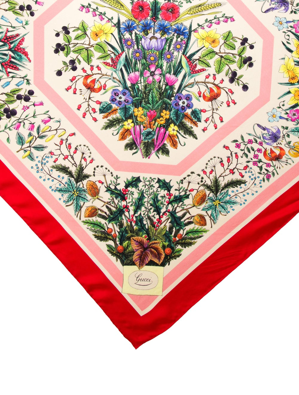 Gucci Silk Floral Print Scarf Red - image 2