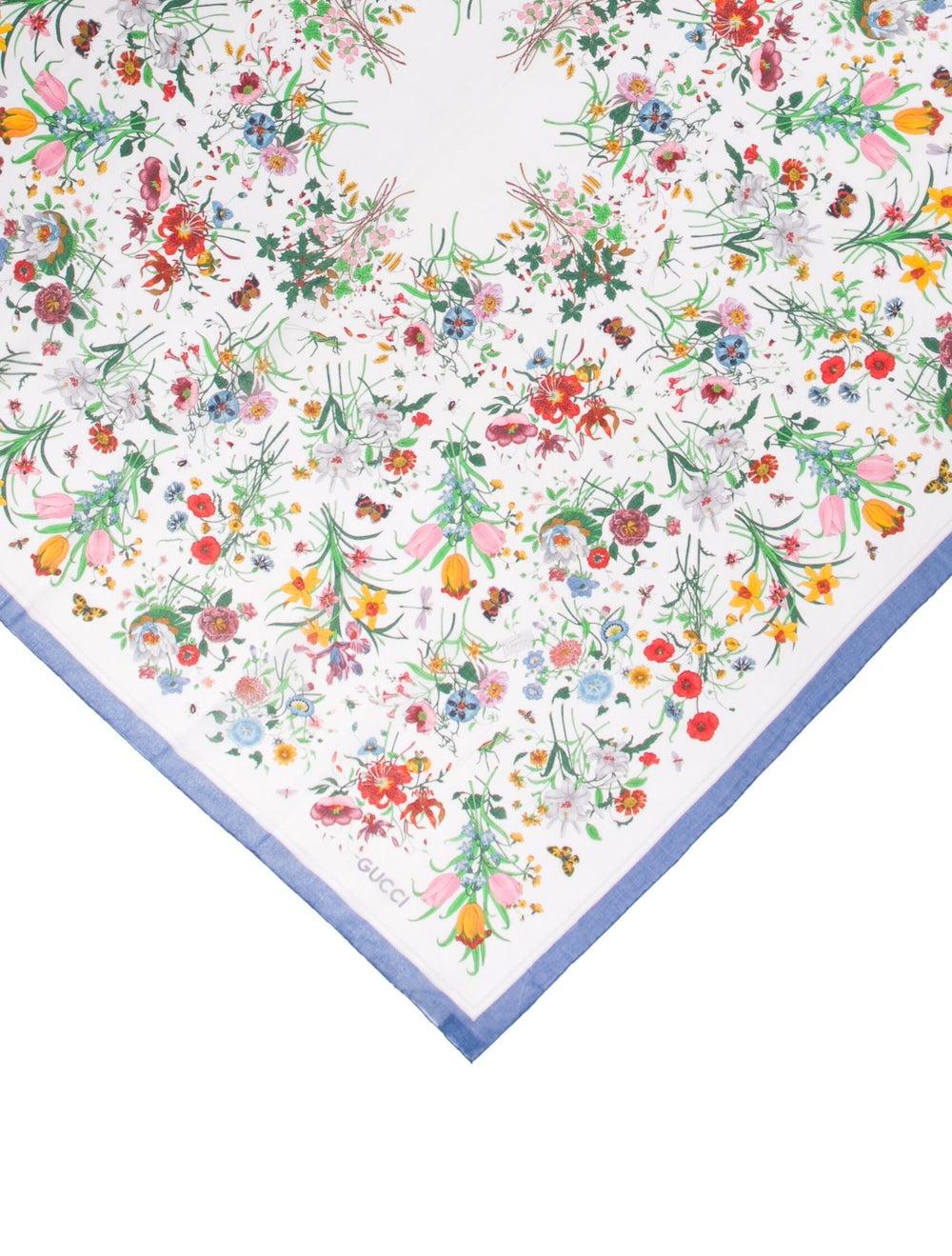 Gucci Vintage Floral Print Scarf White - image 2
