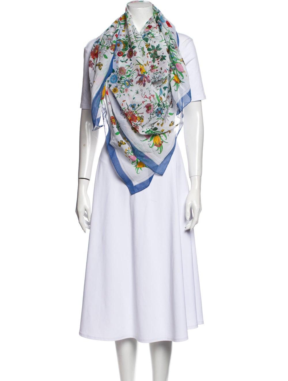 Gucci Vintage Floral Print Scarf White - image 3