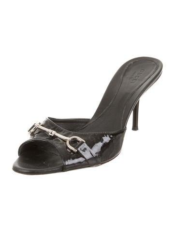 Patent Leather Slide Sandals