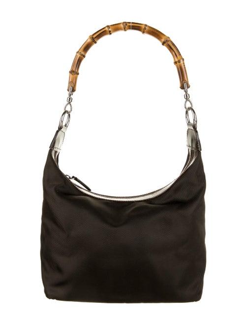 Gucci Vintage Bamboo Nylon Shoulder Bag Brown - image 1
