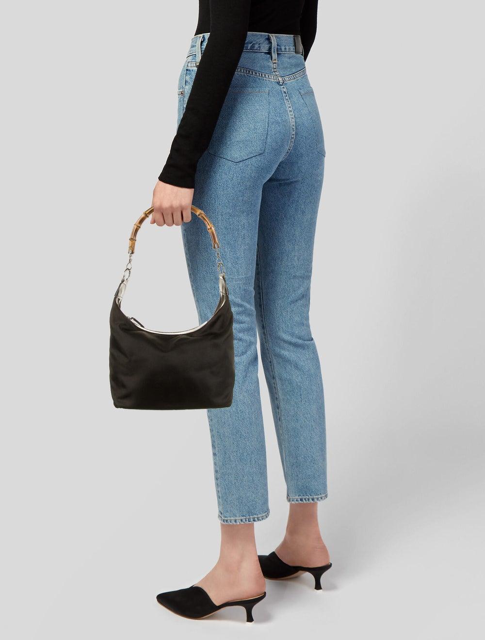 Gucci Vintage Bamboo Nylon Shoulder Bag Brown - image 2