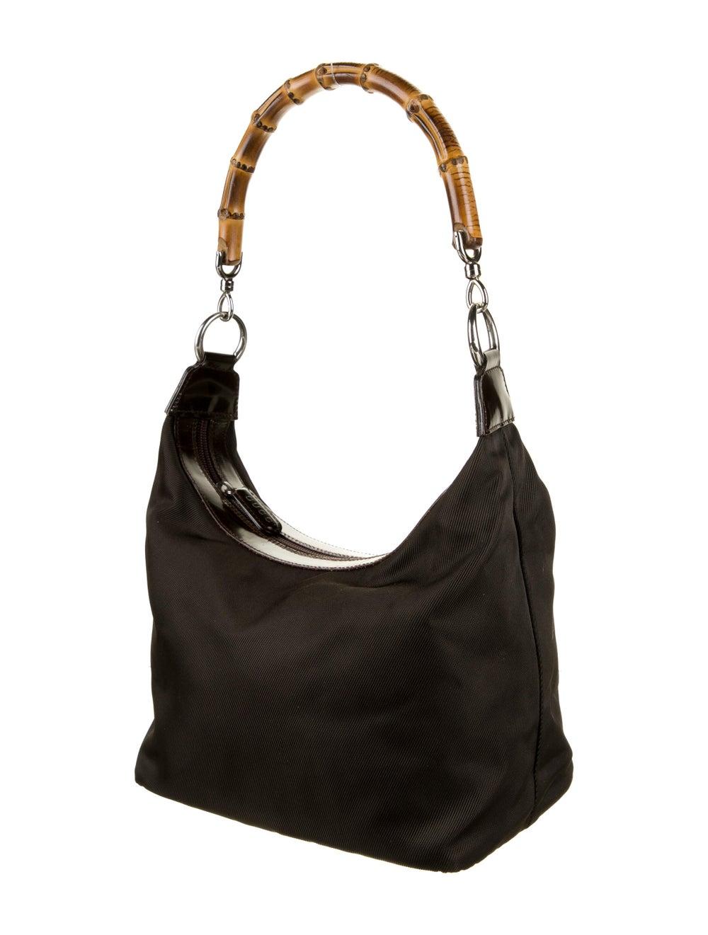 Gucci Vintage Bamboo Nylon Shoulder Bag Brown - image 3