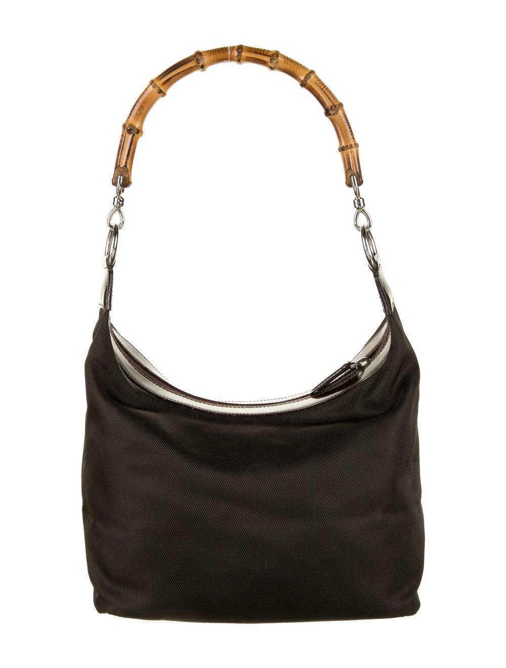 Gucci Vintage Bamboo Nylon Shoulder Bag Brown - image 4