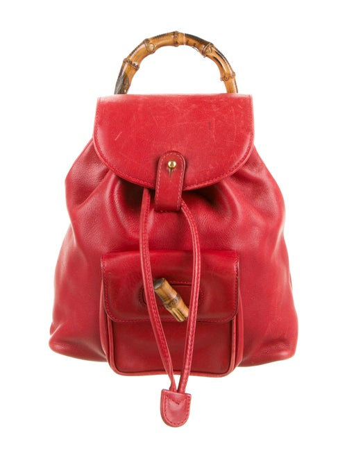 Gucci Mini Leather Bamboo Backpack Red