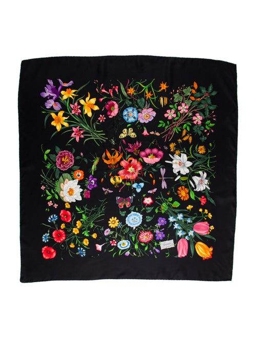 Gucci Floral Print Scarf Black - image 1