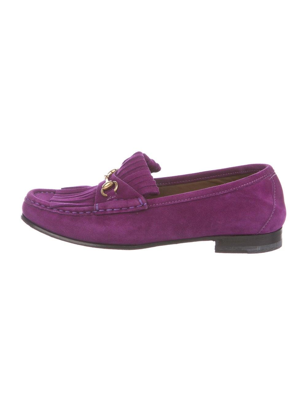 Gucci Horsebit Accent Suede Loafers Purple - image 1