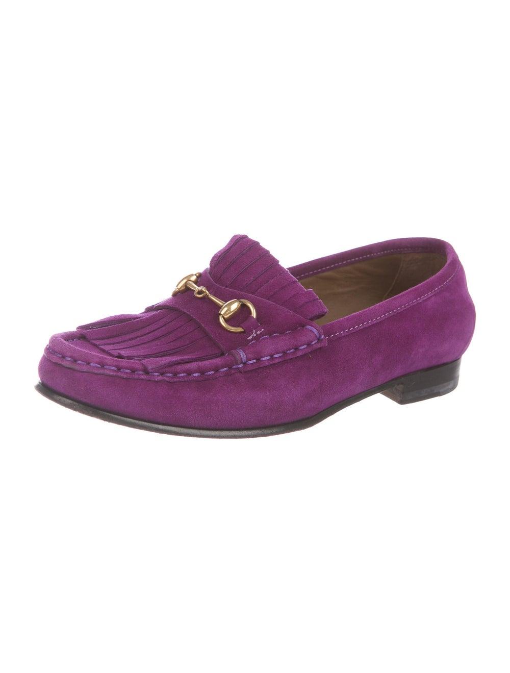 Gucci Horsebit Accent Suede Loafers Purple - image 2