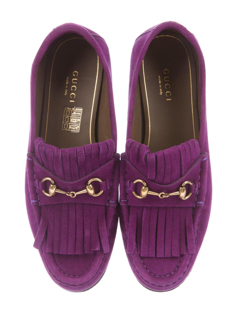 Gucci Horsebit Accent Suede Loafers Purple - image 3