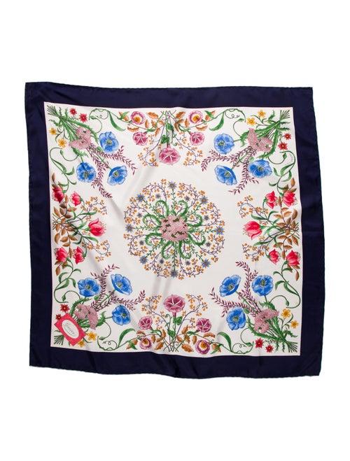 Gucci Silk Floral Print Scarf Blue - image 1