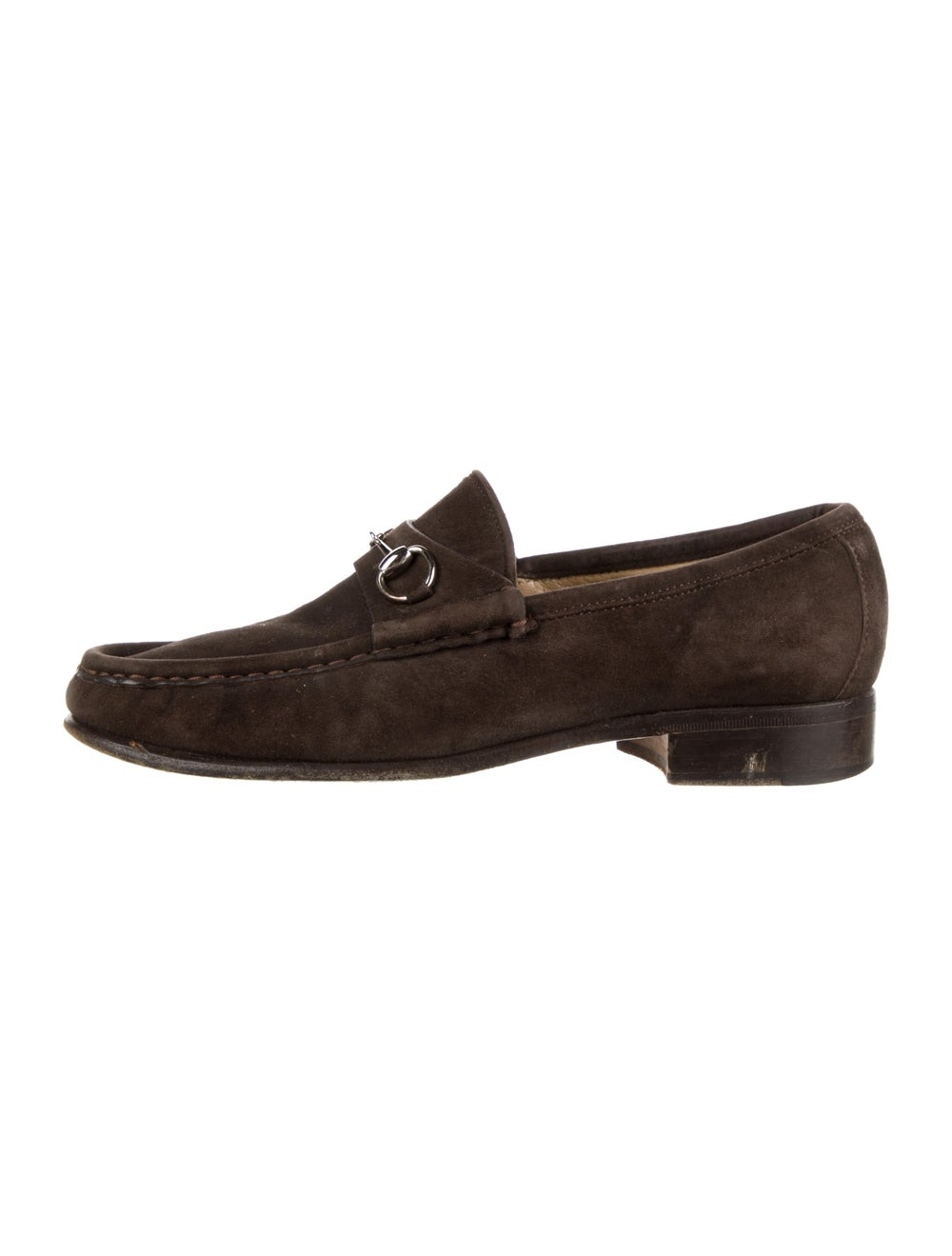 Gucci Horsebit Accent Suede Loafers Brown - image 1