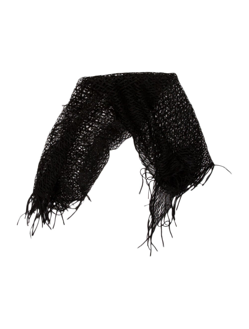 Gucci Knit Fringe Scarf Black - image 1