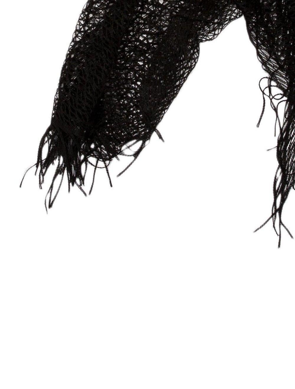 Gucci Knit Fringe Scarf Black - image 2