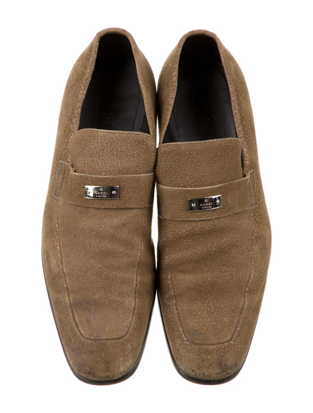 Gucci Suede Dress Loafers Green - image 3