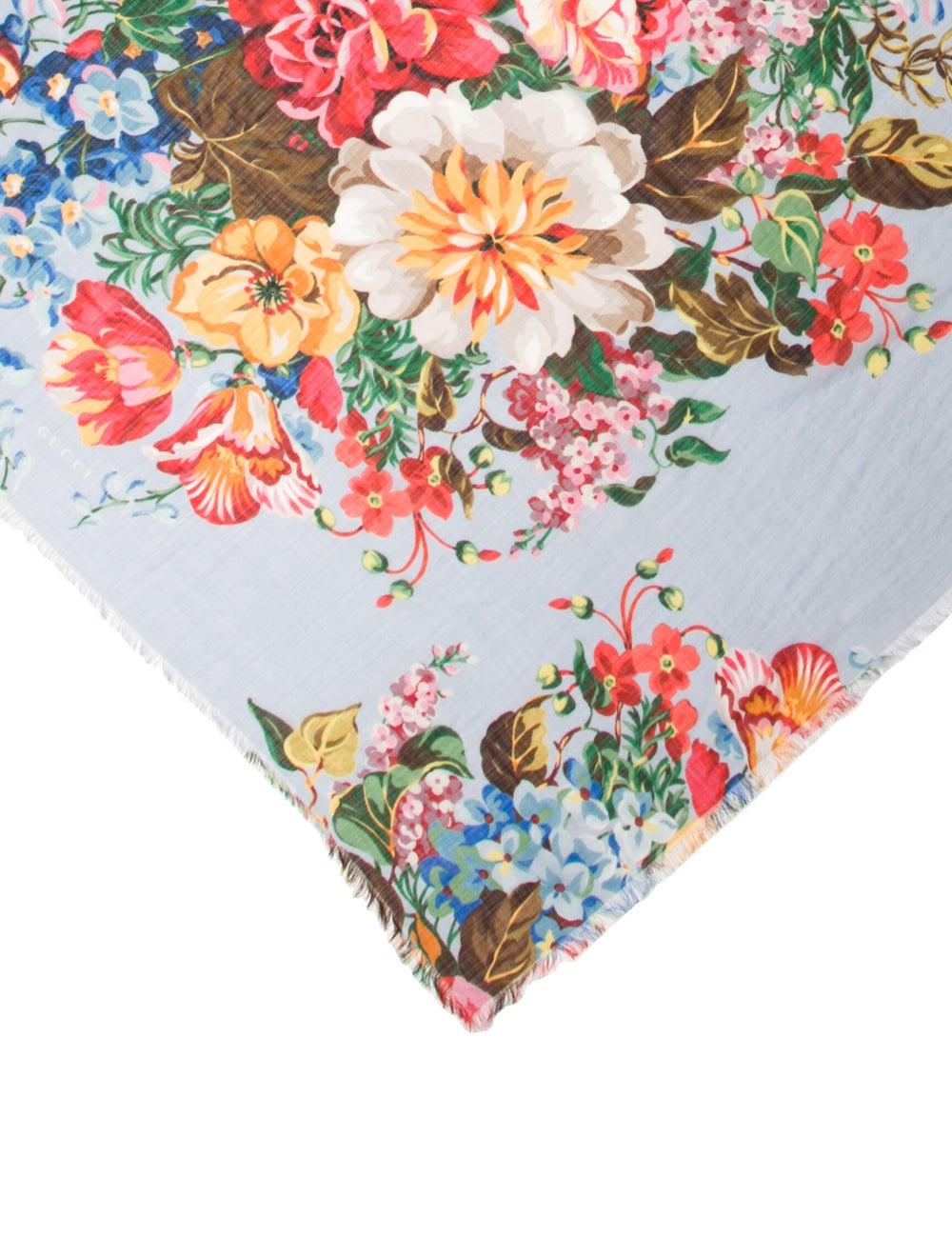 Gucci Wool Floral Print Scarf w/ Tags Wool - image 2