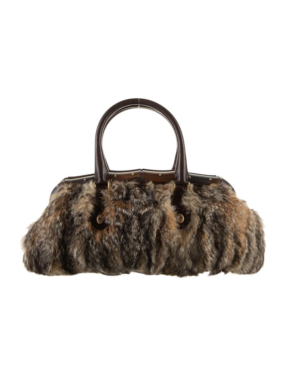 Gucci Fur Bamboo Frame Handle Bag Gold - image 1
