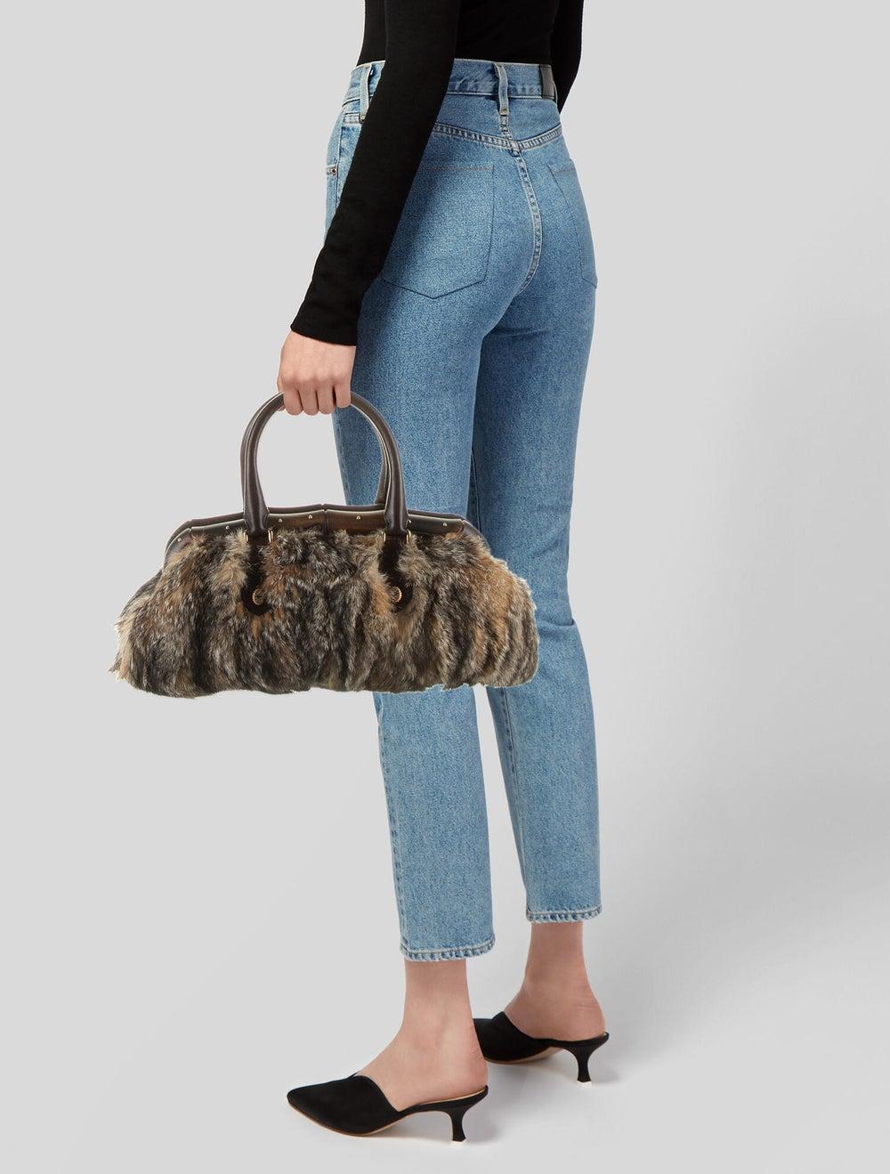 Gucci Fur Bamboo Frame Handle Bag Gold - image 2