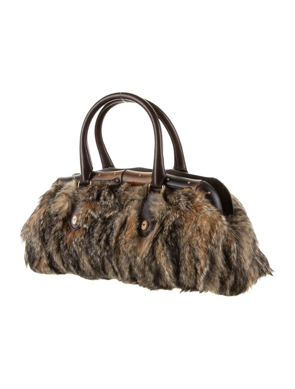 Gucci Fur Bamboo Frame Handle Bag Gold - image 3