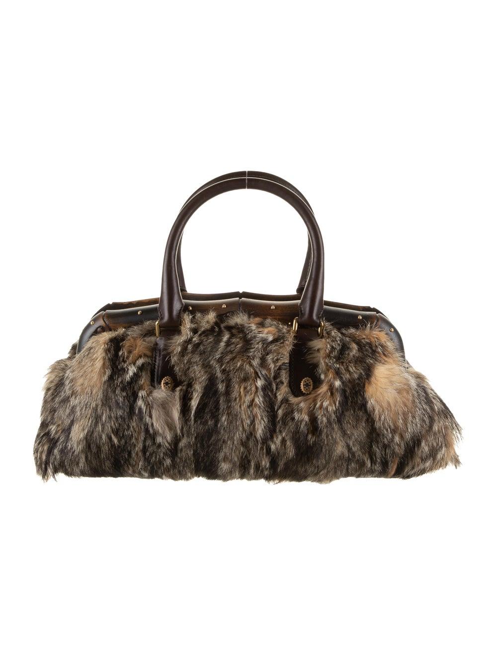 Gucci Fur Bamboo Frame Handle Bag Gold - image 4