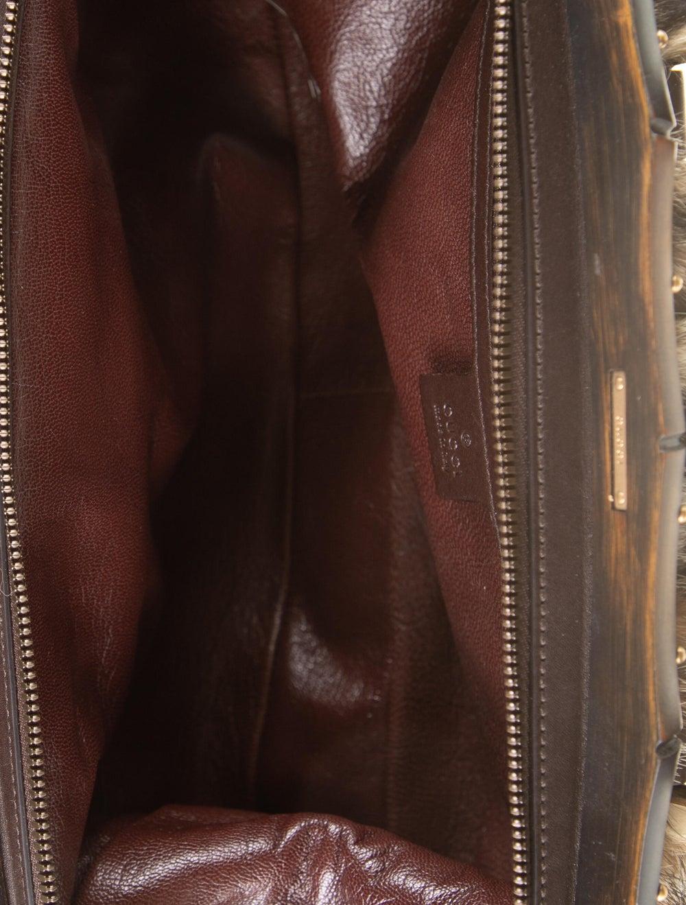 Gucci Fur Bamboo Frame Handle Bag Gold - image 5