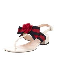 Gucci Sylvie Web Accent Leather Sandals