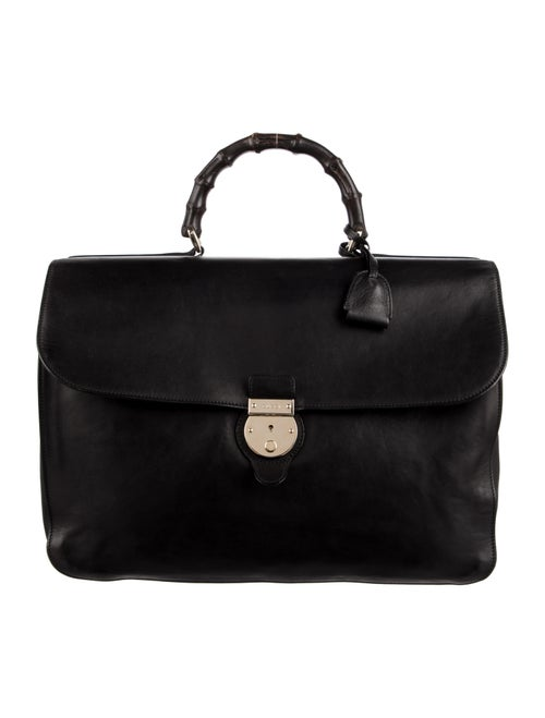 Gucci Bamboo Handle Soft Briefcase Black - image 1