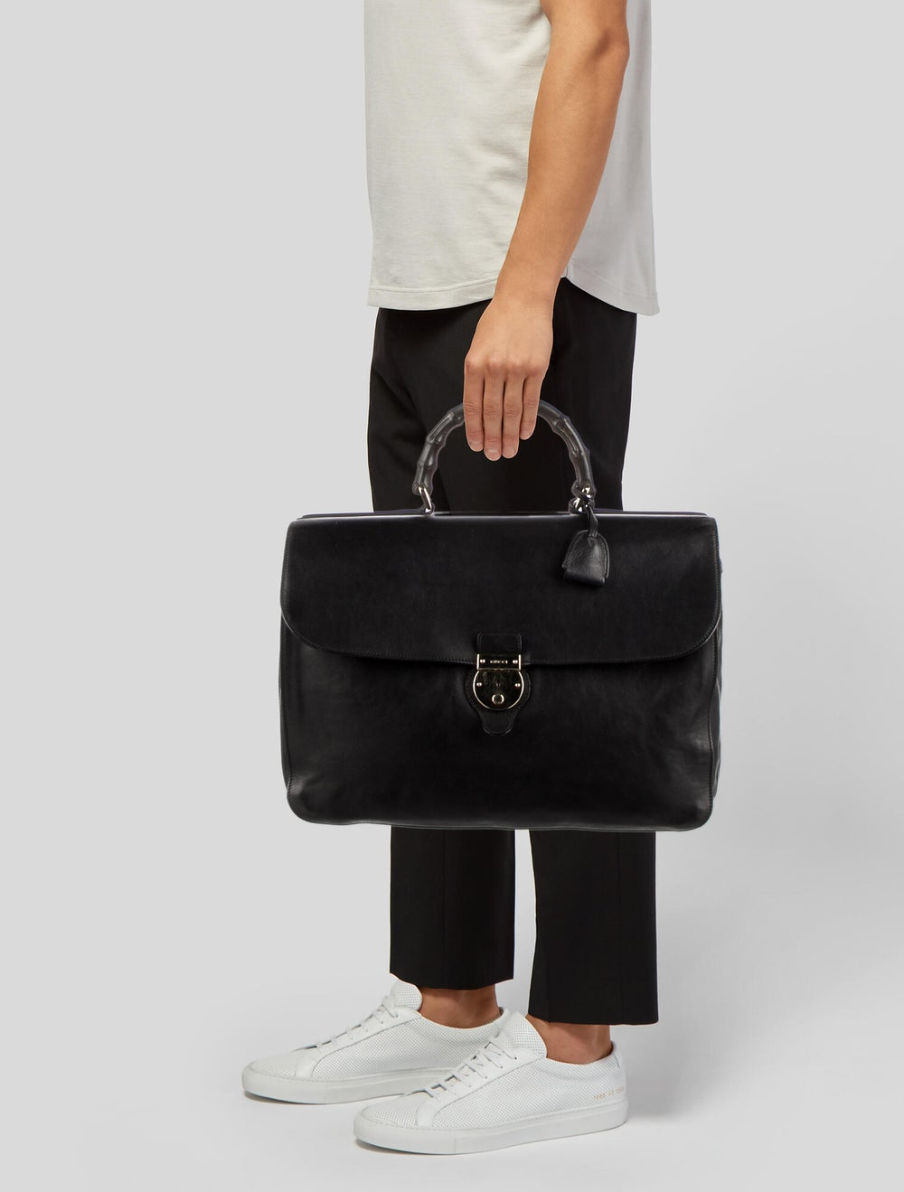 Gucci Bamboo Handle Soft Briefcase Black - image 2