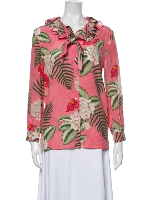 Gucci Floral Printed Blouse Pink