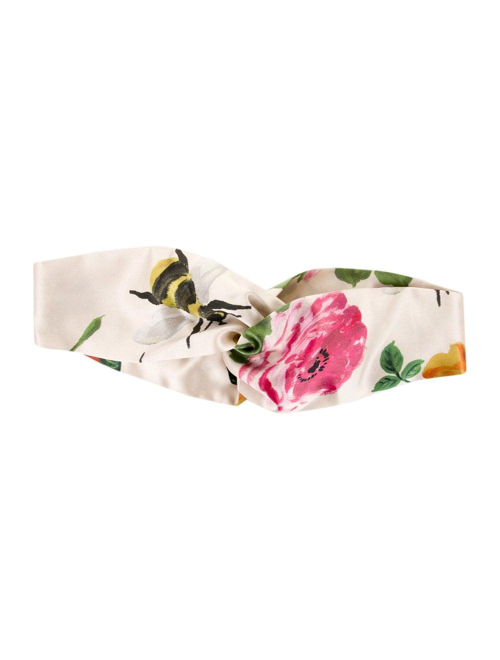 Gucci Floral Silk Headband w/ Tags Cream - image 1