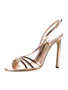 Gucci Leather Chain-Link Accents Slingback Sandals