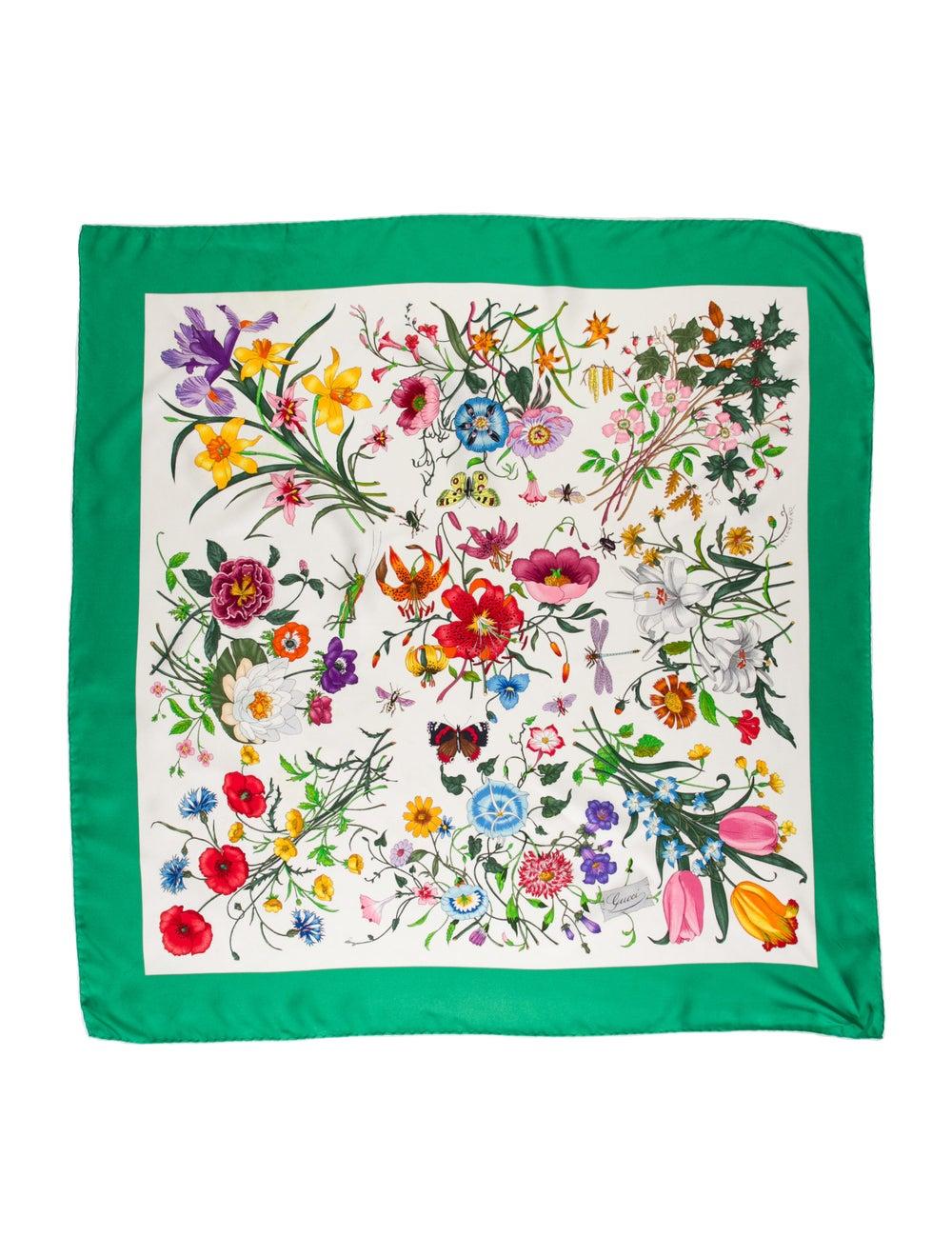 Gucci Silk Floral Print Scarf Green - image 1