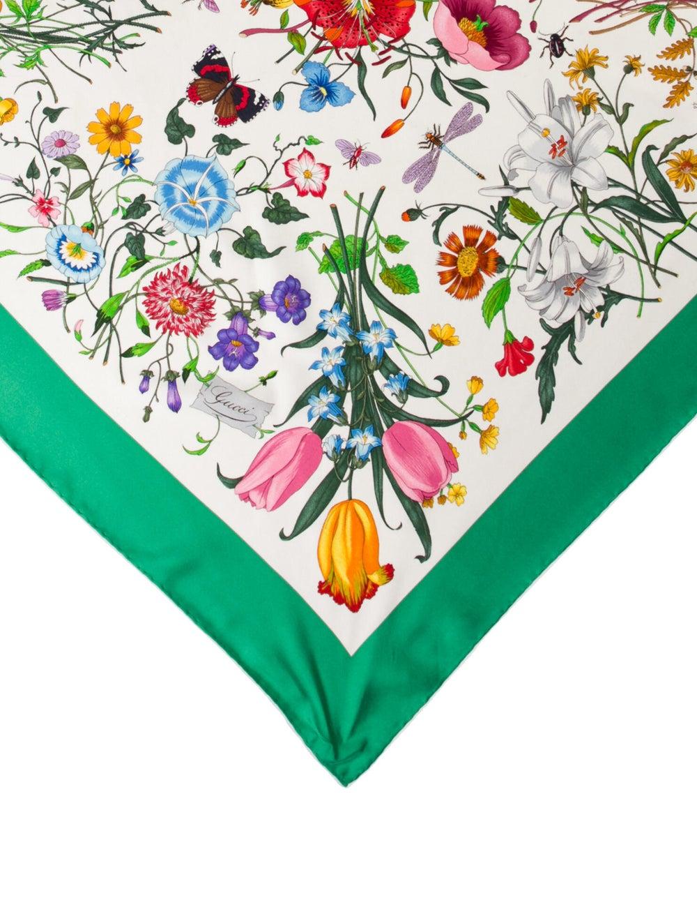 Gucci Silk Floral Print Scarf Green - image 2
