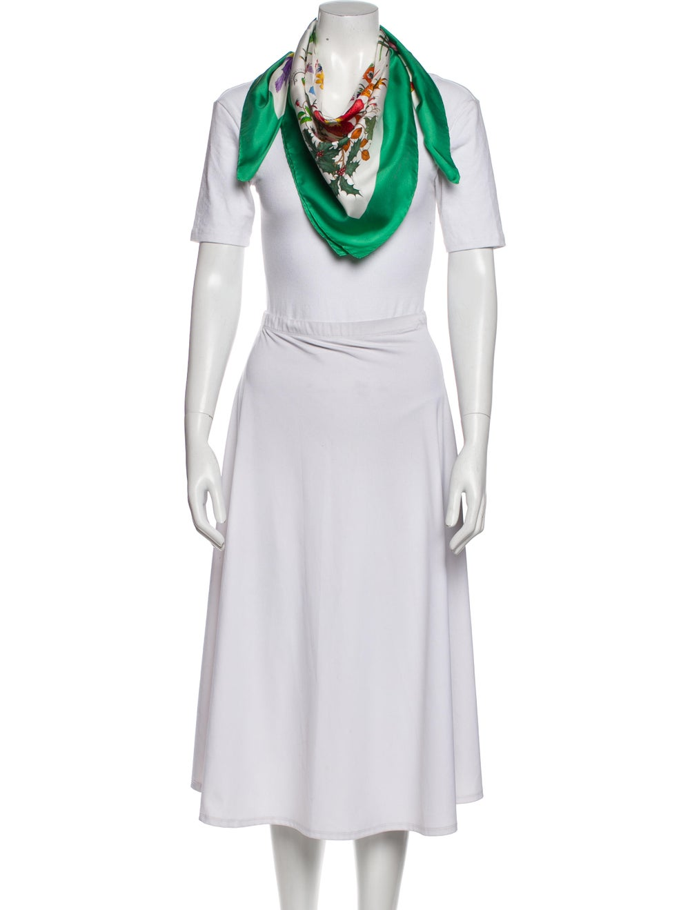 Gucci Silk Floral Print Scarf Green - image 3