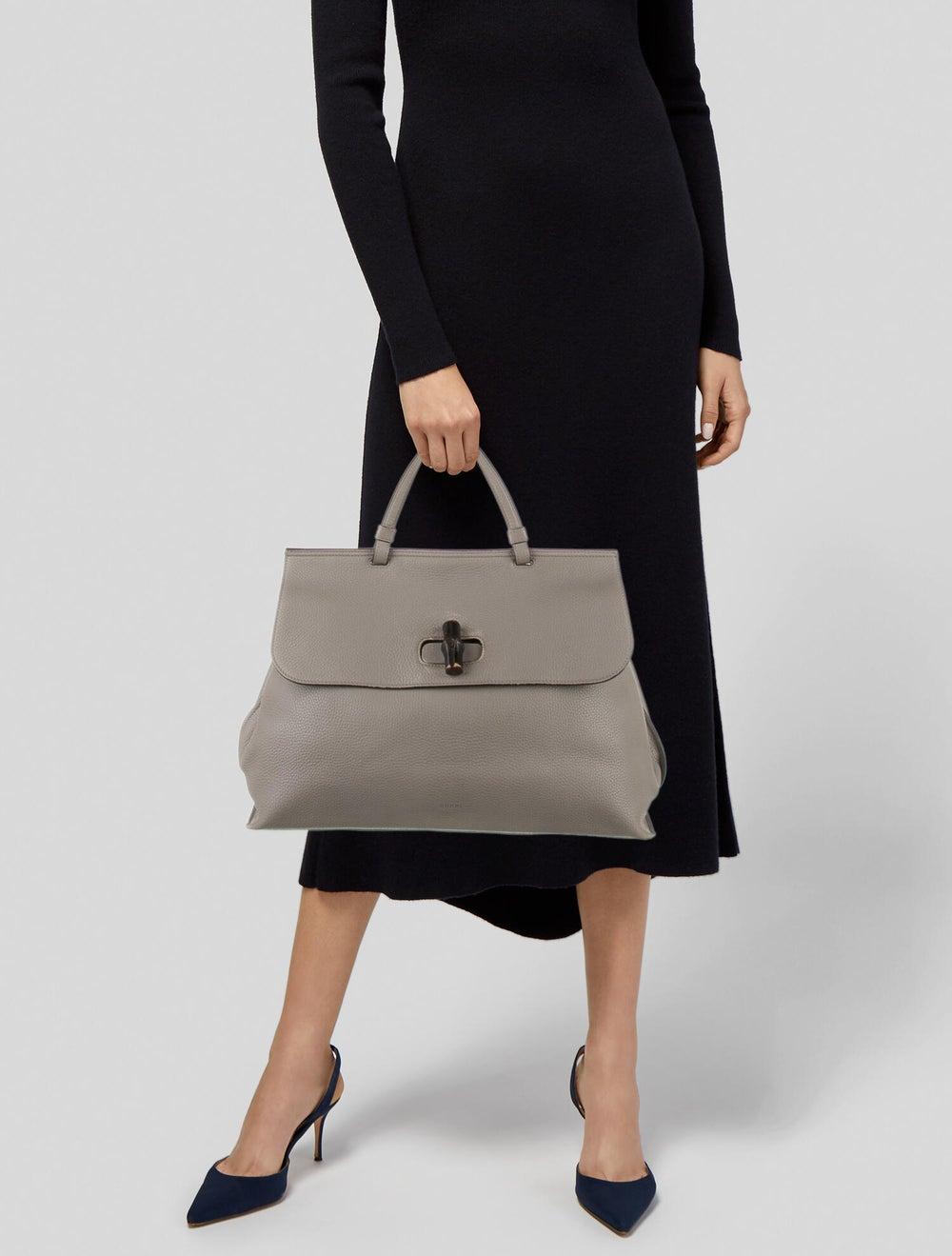 Gucci Large Daily Bamboo Handle Bag Grey - image 2