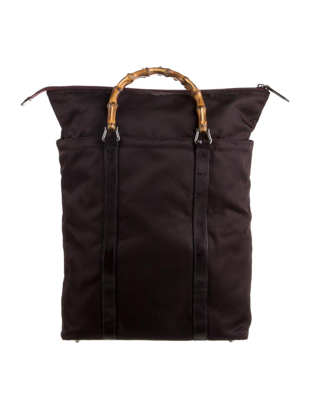 Gucci Canvas Bamboo Handle Bag Silver - image 4