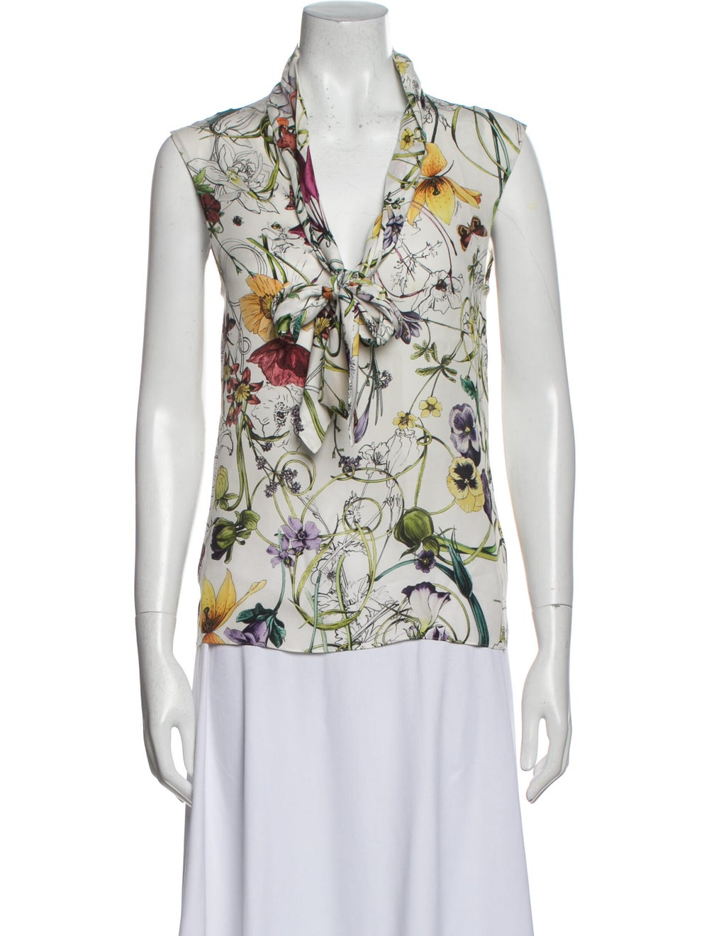 Gucci Silk Floral Print Blouse White - image 1