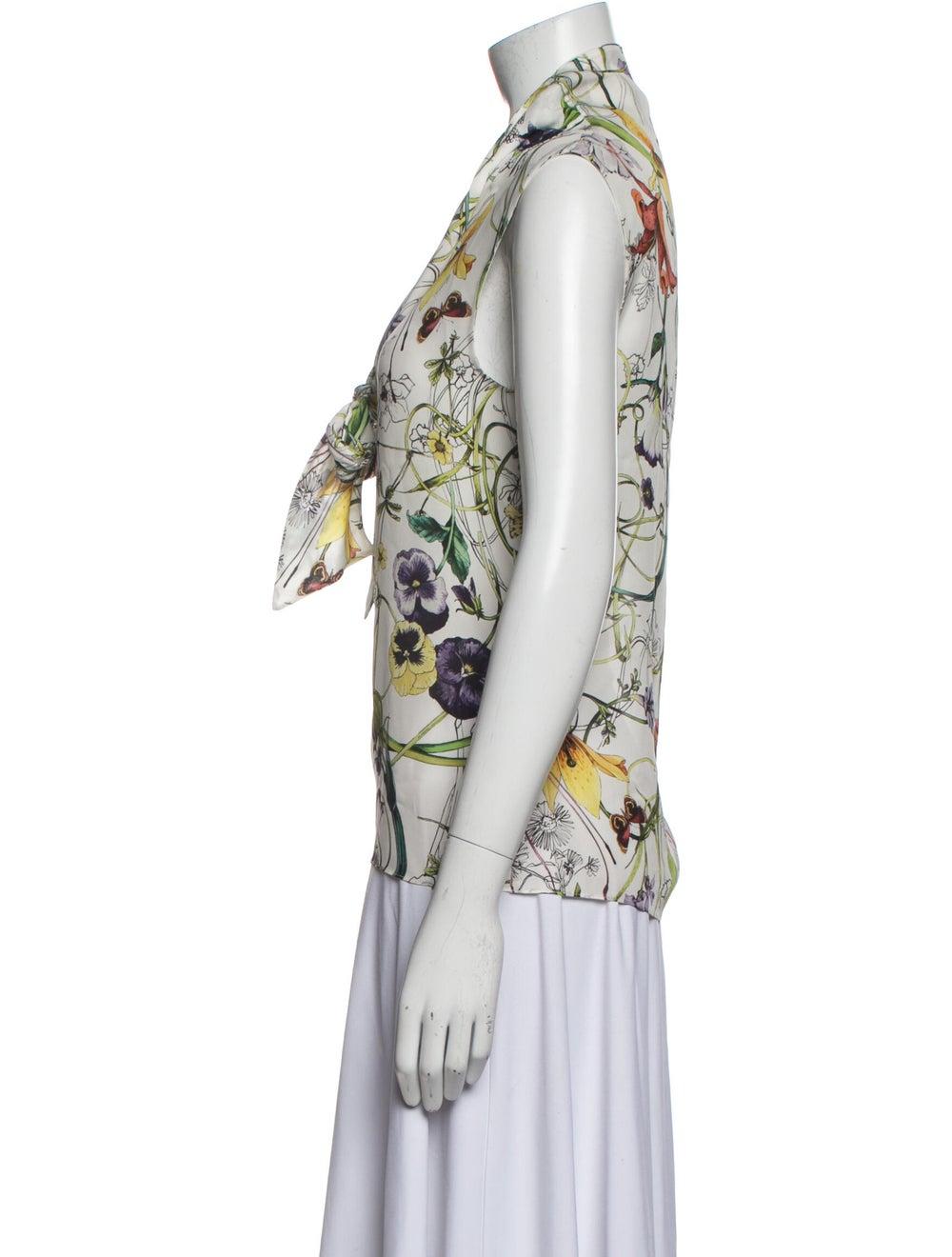 Gucci Silk Floral Print Blouse White - image 2