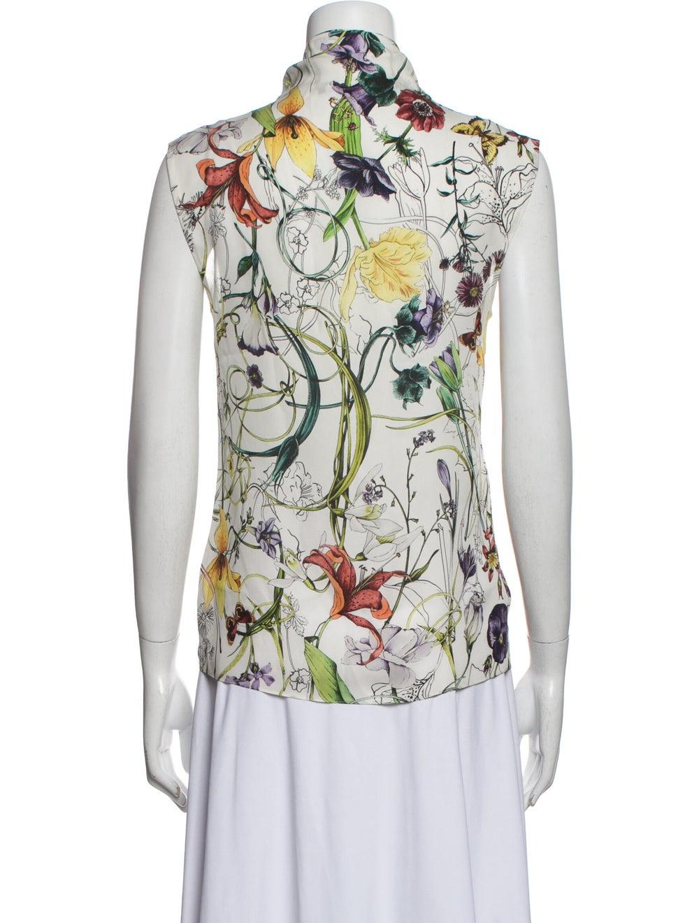 Gucci Silk Floral Print Blouse White - image 3