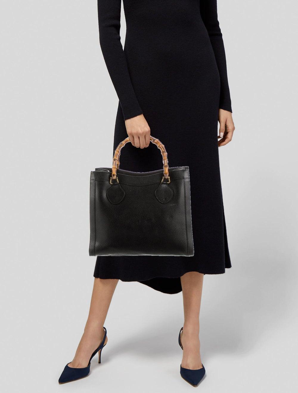 Gucci Vintage Diana Bamboo Tote Black - image 2