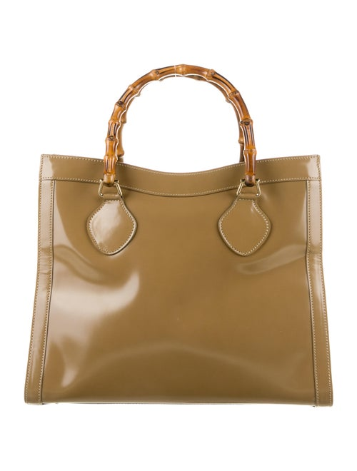Gucci Vintage Leather Bamboo Diana Tote Brown - image 1