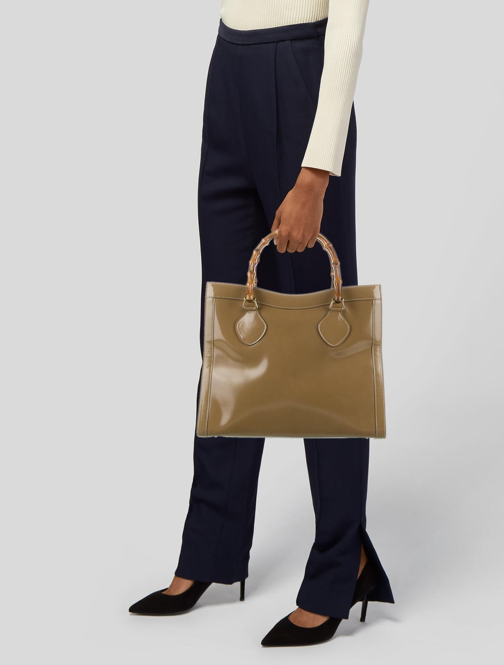 Gucci Vintage Leather Bamboo Diana Tote Brown - image 2