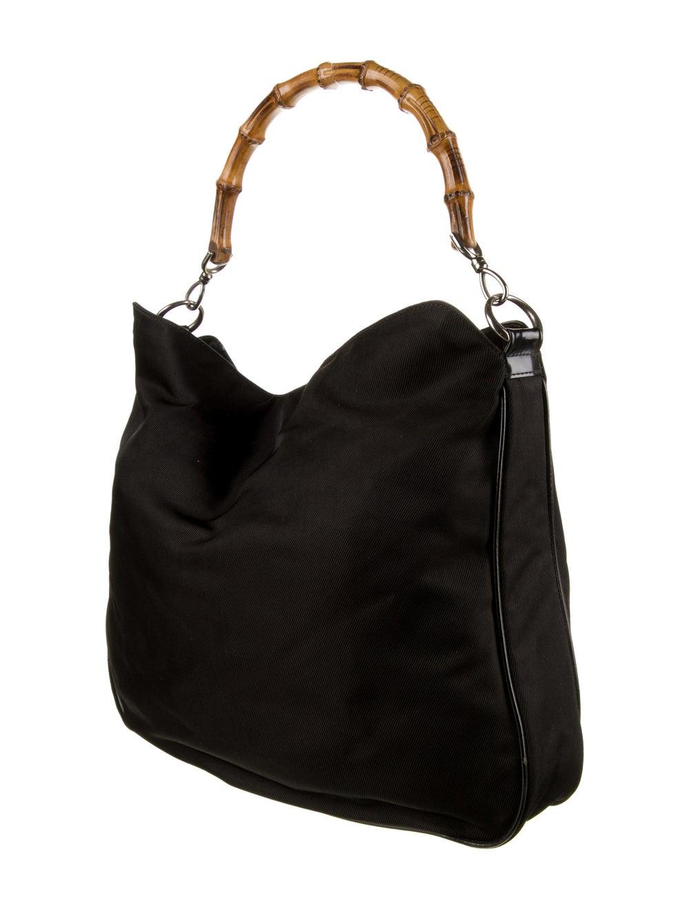 Gucci Vintage Nylon Bamboo Bag Black - image 3