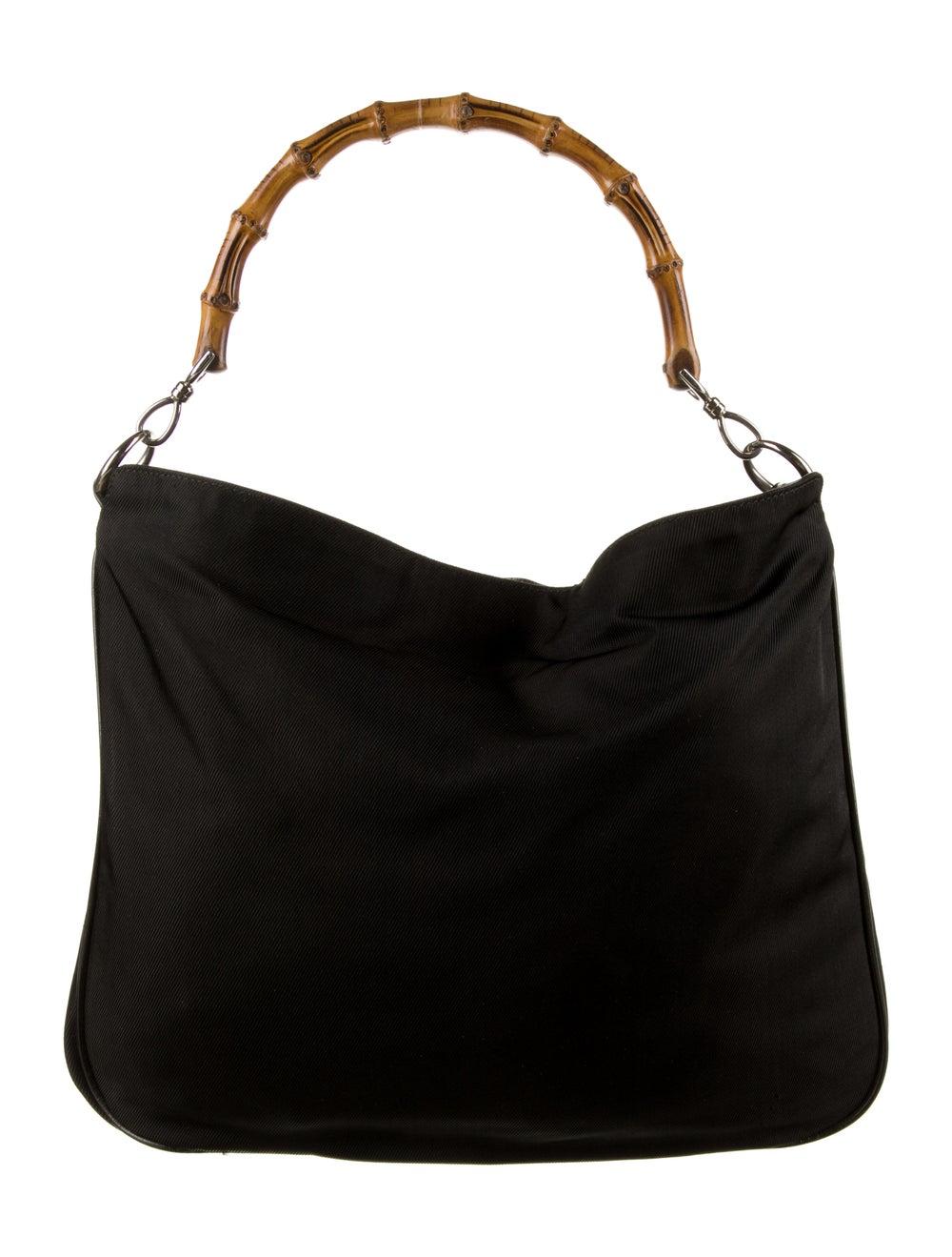 Gucci Vintage Nylon Bamboo Bag Black - image 4